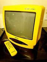 """Nokia Yellow Fellow CRT TV 14"""" Retro Gaming Monitor and remote"""