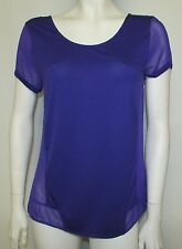 Ladies Size 10 Purple Tunic Top Marks & Spencer Chiffon Panel Zip Detail Back VI