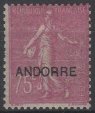 "ANDORRE FRANCAIS N° 17 "" SEMEUSE FOND LIGNE 75c LILAS ROSE "" NEUF xx TTB K643"