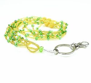 Multi colors Braided Seed Beads Crystal Necklace LANYARD key chain