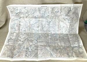 1944 Antique Map of Switzerland Splügen Pass Mountains WW2 Chiavenna Bivio Alps