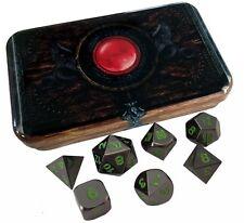 Warlock Tome with Black Dragon | Shiny Black Nickel w/ Green Numbers Metal Dice