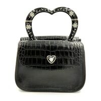Brighton Black Leather Handbag Purse Heart Handle Croc Embossed Small Evening