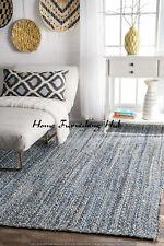 Handmade Decorative Jute Denim Cotton Carpet 4 x 6 Ft Braided Floor Mat Rag Rug