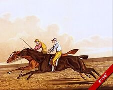 TWO JOCKEY'S HORSE RACING OPEN STRIDE GALLOPING PAINTING ART REAL CANVAS PRINT