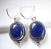 Lapis with Rope Style and Dot Accents 925 Sterling Silver Dangle Earrings