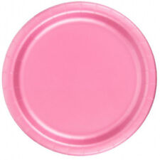 "24 Plates 6 7/8"" Paper Dessert Plates Wax Coated - Pink"