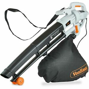 VonHaus 3000W Leaf Blower 3-in-1 - Blows, Vacuums and Mulches Leaves - 35L Bag