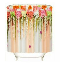 Printed Shower Curtain Outdoor Floral on Vertical Metal Strips Scene