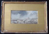 Ancienne peinture montagne paysage orageux XIX old painting landscape mountain
