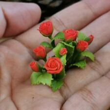 Dollhouse Miniature Handmade Red Rose Flowers 3 Bunches Flower Bouquets Decor