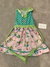 NEW Girls Sleeveless Dress Medium 7-8 Mermaid Shell A-Line Green Summer Cotton