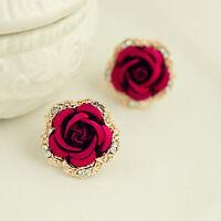 Vintage Style Women Big Crystal Rose Earrings Rhinestone Red Flower Earring Stud