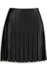 2011 VERSACE for H&M Black Pleated A-Line Silk Skirt With Studs - US 2 MINT!