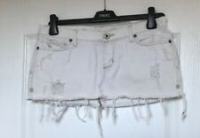 """Abercrombie & Fitch"" White Distressed Mini Skirt, Size 2 (UK S) Cut-Off Style"