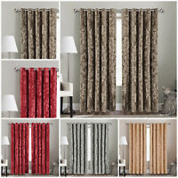Heavy Crushed Velvet Ready Made Eyelet / Ring Top Blackout Lined Pair Curtains