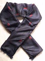 Scarf Vintage Retro MENS 1960s 1970s WOOL NAVY BLACK RED