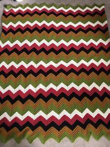 "handmade crochet afghan / throw blanket, zigzag, 68"" x 54"" Multi-colored Used"