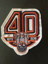 EDMONTON OILERS 40TH ANNIVERSARY TEAM PATCH 1979-2019 JERSEY STYLE NHL HOCKEY