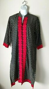 Women's Cotton Pakistani Indian Black Red Embroidery Kameez Shirt Tunic XL