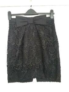 River Island Blak Cotton Pencil Skirt size 8 Length 18 Excellent Condition