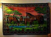 """Vintage Horse Tapestry Mare & Foal Wall Hanging Decor Rug 58""""x39"""" Turkey"""