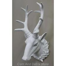 Stag Deer Head Wall Mount Sculpture Antlers White