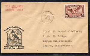 CANADA = 1st Flight Cover - KENORA to COLE. 16.08.1935. R.C.M. POLICE.