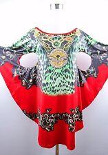 Womens Party Clubwear Design BatWing Animal Chain Baroque Print Sexy Dress BD59