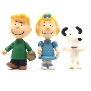 "Rare Snoopy Peanuts Vintage 3"" Action Figure Bundle Schroeder Sally Toy Set Lot"