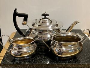 3 Piece Sheffield Silver Plated Tea Set Early 20th Century Deco Shaped Teapot