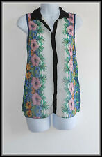 New Look Women's Sleeveless Floral Button Top Blouse size UK 8/10  EUR 36/38