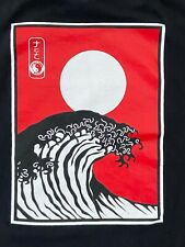 Town and Country Surf Hawaii T& C Japanese Wave Card Black Shirt Sz - XL