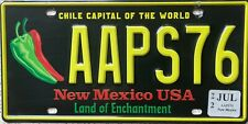 GENUINE New Mexico Chile Capital of World Licence License Number Plate AAPS76