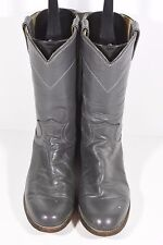 JUSTIN WOMENS 8.5 A STYLE L3056 GRAY LEATHER ROPERS WESTERN BOOTS