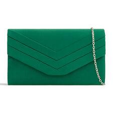 Dark Green Suede Wedding Ladies Party Prom Evening Clutch Hand Bag Purse HandBag