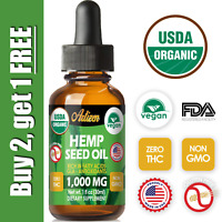 Organic Hemp Oil Drops for Pain Relief, Stress, Sleep (PURE & NATURAL) 1000mg