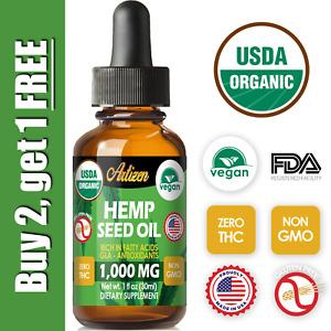 Organic Hemp Oil Drops for Pain Relief, Stress, Sleep (PURE & NATURAL) 1000mg