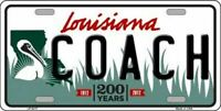 Coach Louisiana State Background Novelty License Plate