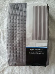 Mainstays Fabric Shower Curtain Gray Textured Waffle 70 in x 72 in