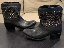 FRYE Deborah Deco Short Studded Leather Boots Women's Size: 6- Black #3475873