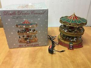 """Mr. Christmas Nottingham Fair Double Decker 30 Songs Music Light Carousel 10"""" H"""