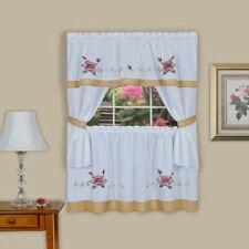 Kitchen Curtain Rose Stitch complete Embroid flowers Cottage set 58x36