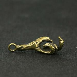Antique Brass Claw Pendant Small Statue Ornament Collectible Craft Pocket Gifts