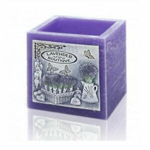 Tea Light Candle Holder Lamp Hand Decorated Beautiful Lavender Cube Home Décor