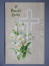 R&L Postcard: Beautiful, Easter Holy Cross Snowdrop Flowers Embossed Design