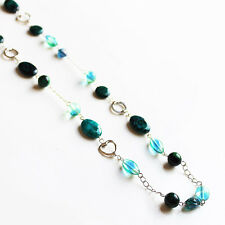 Handmade 90cm Single Strand Silver and Blue-Green Chrysocolla & Glass Necklace