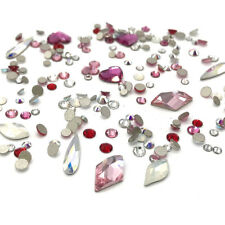 100 Assorted Mix Round Shaped Sizes Swarovski Flatback nail art pink LOVE Colors