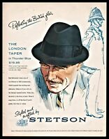 1961 STETSON London Taper Men's Hat Vintage Fashion AD