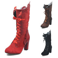 HOT Women Steampunk Victorian Vintage Gothic Costume Mid Calf Lace Up Boots Size